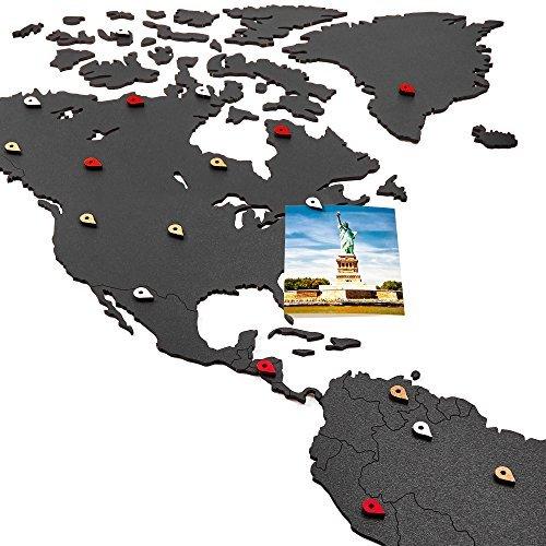 Weltkarte Wall Art-Holz World Map Decor/Dekoration/Holz Dekor für Wohnzimmer oder Büro/Decor für Reisende/3D Decor/Flat Earth Map-Wandmalereien Art Wand/DIY Art Wand (schwarz) schwarz -