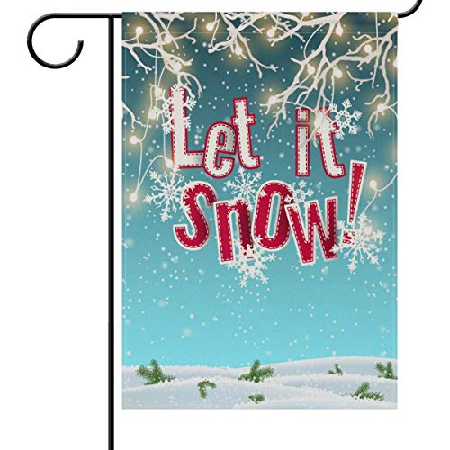beautiful& Christmas Let It Snow Garden Flag House Banner, Winter Snowflake Small Mini Decorative Double Sided Welcome Yard Flags for Holiday Wedding Party Home Outdoor Outside Decor 12.5x18 inches Special Blend Snow