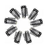 Tinksky Parrucca clip clip automatici con gomma 10-denti Snap-pettine per capelli estensione (nero)