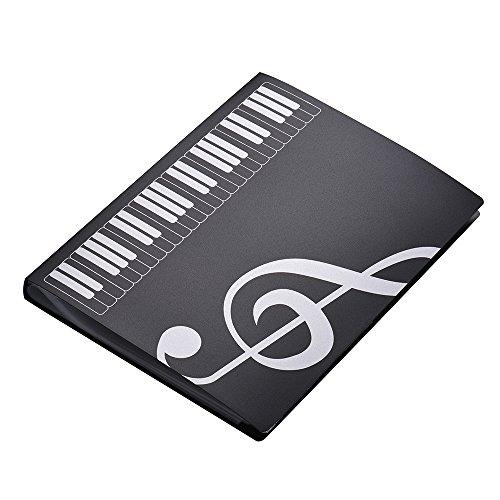 Muslady Cartelle Portaspartiti Formato A4 Foglio di Spartito Musicale Nota File di Documento Titolare Astuccio 40 Tasche Nero
