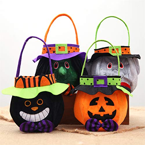 VJUKUB Halloween Tragbare Stofftasche Ghost Festival Kinder-Dekoration Requisiten Spielzeug Dress up Accessoires Kürbis Beutel Geschenktasche Candy Bag Requisiten Tasche 4 ()