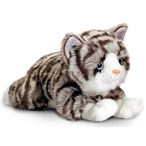 B-Creative Keel Toys Cats 25cm - Soft Plush Kids Cuddly Toy Stuffed Animal Gift - New (Grey - Kayla)