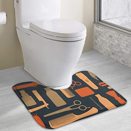 Hoklcvd Hairdressing Salon U-Shaped Toilet Floor Rug Non-Slip Toilet Carpets Bath Mats Rug