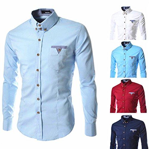 Men's High Quliaty Long Sleeve Casual Shirts Light Blue