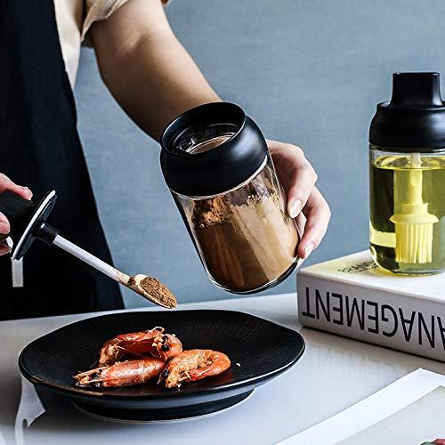 Glassalzstreuer Pinselöler Mit Löffel Gewürz Feuchtigkeitsdicht Verschlossene Gewürzflasche Gewürzglas Küchenaufbewahrungsbox 3 Stück Einfarbige Ölbürste (Für Speiseöl, Grillsauce Etc.)