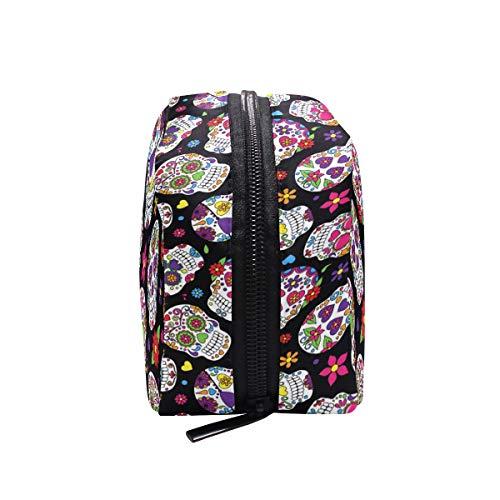 Bolsa de maquillaje con diseño de calavera de azúcar y flores,...