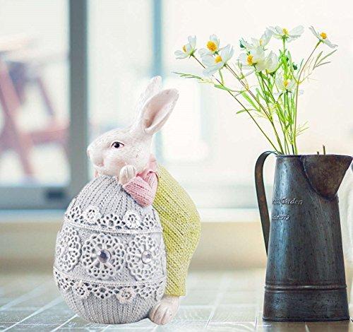 Jysport decorazione pasquale coniglietto ornamento giocare con uovo di pasqua resina decorativo centrotavola per pasqua table home outdoor party ufficio gray egg