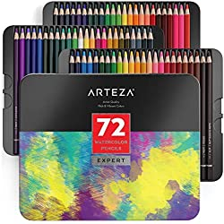 Arteza Juego de lápices de acuarela | Estuche de 72 lápices acuarelables de dibujo artístico en brillantes tonos surtidos | ideales para mezclar y estratificar | Aptos para principiantes y expertos