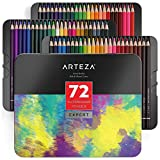Arteza Crayons De Couleur Aquarelle En Bois Boîte Rangement Métal Set De 72, Crayons Aquarelle Pour Dessin D'art Dans Des Tons Assortis Lumineux, Idéal Pour Les Artistes Débutants Et Professionnels