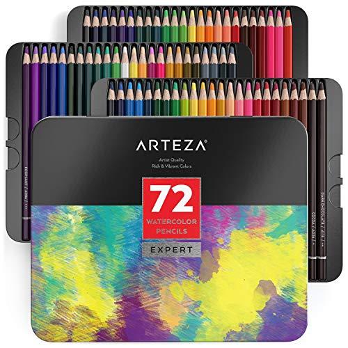 Arteza matite colorate acquerellabili, set da 72 pezzi multicolore, scatola in latta, matite da disegno professionali, ideali per sfumare e stratificare, per principianti ed esperti