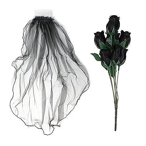 Artificiel Portable Noir Gothique Fleurs Roses & Noir Voile