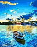 ZGGDYY malen nach Zahlen DIY Paint Painting - Wandkunst - Boot auf dem Pier in der Abenddämmerung -40x50cm(16x20in)