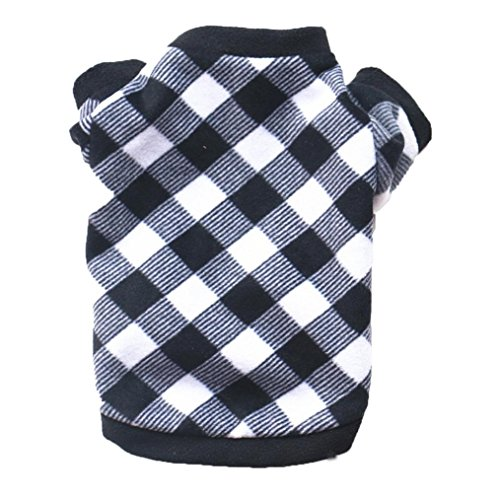 Linlink Herbst und Winter Welpen Haustier Pullover Pullover, Weich und Bequem Süße Mode Plus Samt Top, Klassische Plaid-Muster Warmen Hohen Kragen T-Shirt