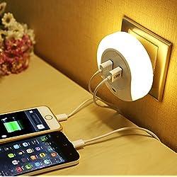 Slosh Luce Notturna con Sensore di Crepuscolo e Caricatore USB con 2 Porte 3 Modalità auto/on/off Lampada Comodino Camera