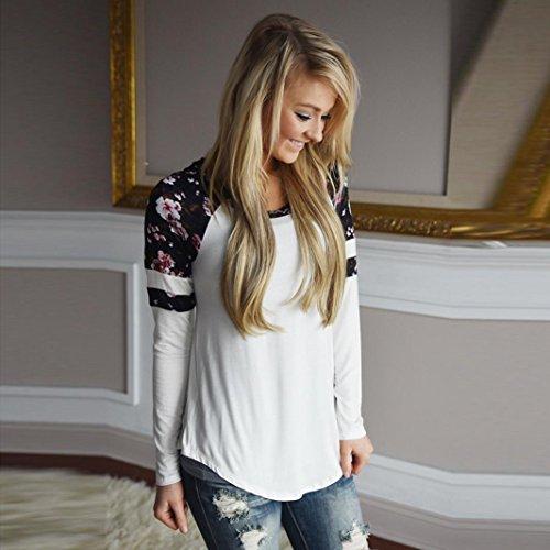 Damen Bluse, Btruely Blumen Shirts Lange Hülse Pullover Tops (M, Weiß) Abbildung 3
