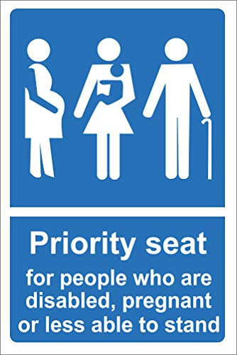 INDIGOS UG - Aufkleber - Sicherheit - Warnung - Priority seat for people who are disabled, pregnant or less able to stand sign 300mm x 200mm - Büro - Firma - Schule