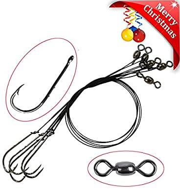 Trace Wire Leader Fishing Hook Rigs Anti-Bite Stainless Steel Wire Line Leader Rigs Tied with Crane Fishing Swivels and Barb Hooks Saltwater Sea Fishing Lure Bait Rigs from Shaddock Fishing