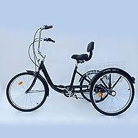 Prit2016 Triciclo adulti con cestino 243ruote 6Velocità regolabile, Nero