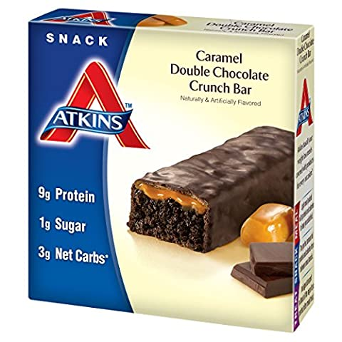 Atkins, Avantage, Barre de chocolat double caramel croquante, 5 barres, 1,6 oz (44 g) de chaque