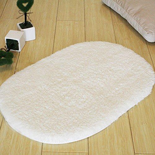 ustide Shag Oval Teppiche für Fußmatte Nonslip Wohnzimmer Fußmatte Moderne Wasseraufnahme Bad Teppiche Creme, Polyester-Mischgewebe, beige, 1.64'X2.62'
