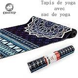 CHASTEP 183 * 61 * 0.6cm Yoga Design Lab Tapis de Yoga Mat 6mm | Épais, Antidérapant, Écologique, Lavable | Adhère Mieux avec la Sueur | Sac de Yoga Incluse