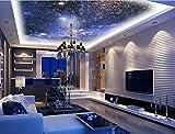 Mznm 3D-Foto Tapete Wand Wandbild Deckenhalterung Dreamy Night Sky Wandbild Wohnzimmer Deckenleuchte Tapete Home Dekoration 200x140cm