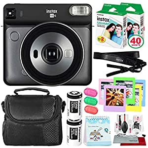 Fujifilm instax Square SQ6 Instant Film Camera (Graphite Grey) + 40 Sheet Square Instant Film + Deluxe Bundle