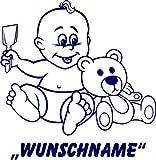 INDIGOS UG - Babystrampler / Strampler 089 mit Wunschname / Wunschtext schwarz 86/92
