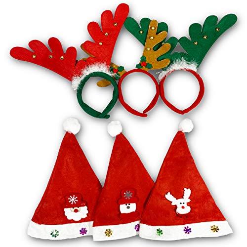 Fiyo Set 6 Weihnachtsmütze Rentier Geweih haarreifen Damen Rot Grün Brown Haarreif Haarschmuck Haarreife für Jugendliche & Erwachsene Weihnachtsfeiern Weihnachtsparty Cosplay, (Eine Größe passt Alle)