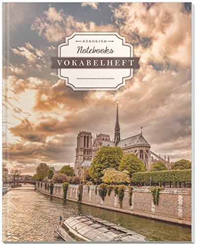 DÉKOKIND Vokabelheft | DIN A4, 84 Seiten, 2 Spalten, Register, Vintage Softcover | Dickes Vokabelbuch | Motiv: Paris Notre Dame