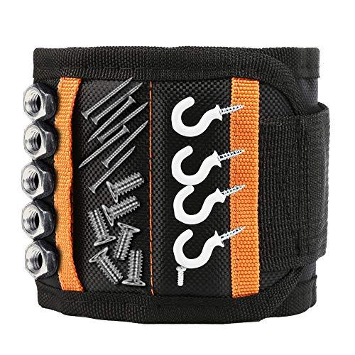 Magnetisches Armband - Geschenke für Männer oder Papa, Magnetarmband Handwerker mit 15 Kraftvollen Magneten für Holding Werkzeuge, Nägel, Schrauben, Bohrungen und Kleine Werkzeuge