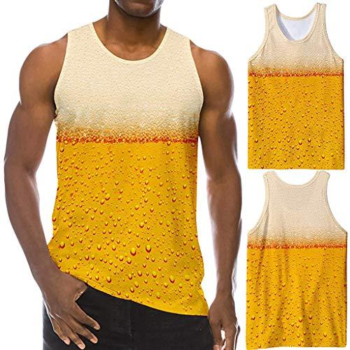 Saingace 3D Grafik Drucken Lustige ärmellose Rundhals T-Shirts Muster Realistische Weste Gym Tanktops für ()