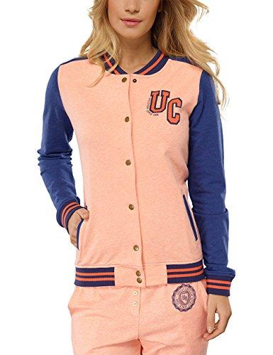 Loungewear-kollektion (Uncover by Schiesser Damen Sweatshirt College Jacket, Gr. 38 (Herstellergröße: M), Gelb (Apricot-Mel. 611))