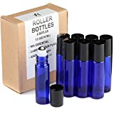 Rioa Essential Oils Roller Bottles,Set of 8, BPA Free, Cobalt Blue Glass-Not Painted Useful for Aromatherapy - Mix with Fractionated Coconut, Jojoba,