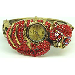 Red Cat Bling Diamante Encrusted Cuff Style Watch