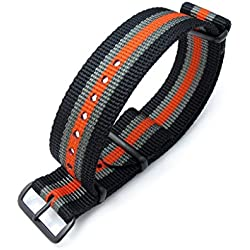 MiLTAT 22mm G10 NATO Bullet Tail Watch Band, Thick, PVD, Black, Grey & Orange