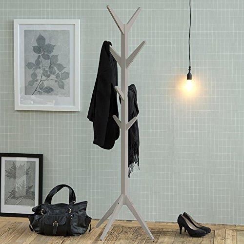 Garderobenständer grau Skandinavisches Design Holz Flurmöbel Flurgarderobe Jackenständer Kleiderständer Garderobe