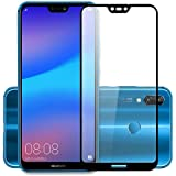 Tingtong® Full Glue Huawei P20 Lite Full Coverage 5D Tempered Glass, No Rainbow Effect, No Dot Matrix [Full Edge-to-Edge 5D Screen Protector- Huawei P20 Lite] (Black)