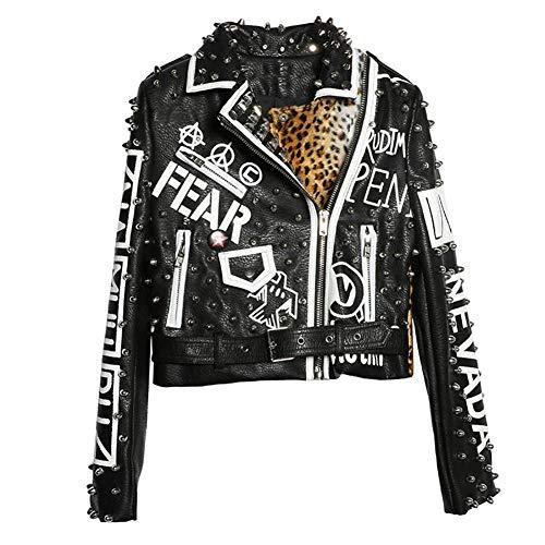 WLXFVNYBD Giacca di Pelle di Leopardo Nera Donna Autunno Inverno Moda Collo alla rovescia Giacche con Borchie Punk Rock Cappotti da Donna @ S