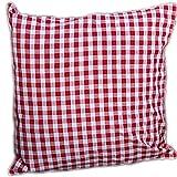 Pflegeleichte Kissenhülle Hülle Sofakissenhülle Eckig Rot Weiß Karierte Bezüge Landhaus (Kissenbezug 40x40 cm Quadratisch)