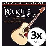 Rocktile jeu de cordes pour guitare acoustique folk ; lot de 3