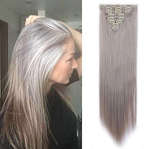 "TESS Clip in Extensions wie Echthaar Kunsthaar Haarteil günstig 8 Tressen 18 Clips Haarverlängerung Glatt HellGraun 26""(66cm)-140g"