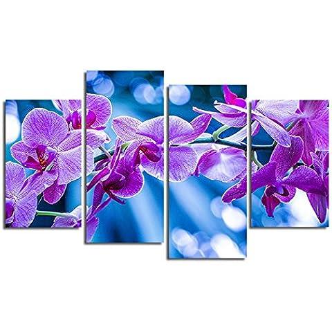 H.COZY 4 Panel de flor púrpura Nueva moderna pintura del cuadro Cuadros Decoracion arte de la lona de la decoración para la sala (No Frame) Sin marco FCR27 48 pulgadas x28 pulgadas