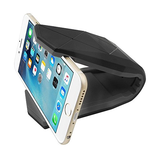 Toperek, supporto per telefono da auto, con antiscivolo, portacellulare universale da cruscotto o parabrezza, con ventosa, per Apple iPhone 7Plus e 6S, Samsung Galaxy, telefoni Android Black Gray