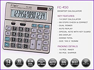 Office Calculator (FC-450) 14 Digit by FLAIR (12 Month Warranty)
