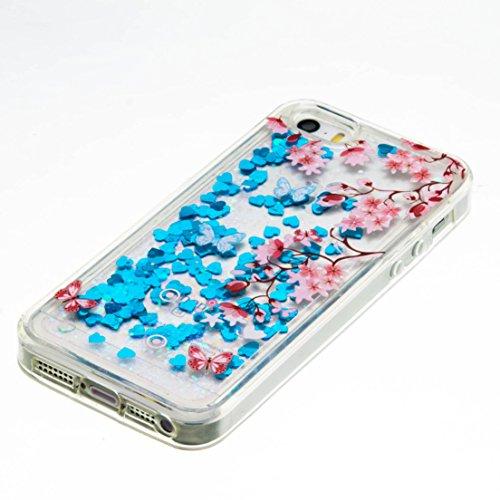 Für iPhone SE/Für iPhone 5/5S Durchsichtige Hülle,Für iPhone SE/Für iPhone 5/5S Crystal Clear Flüssig Hülle Schutz Handy Case Hülle,Funyye Nette Kreative Komisch 3D Flüssigkeit Schutzhülle Bunten Must Schmetterling Blume