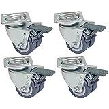 4 Stück Strandkorbrollen, Doppelrollen Rasen geeignet mit Bremse, Tragkraft 400 kg
