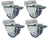 Universal Heavy Duty Twin Wheel Swivel Castor Wheels with Brake and Square Plate (50mm, Pack of 4) [ARTUROLUDWIG]