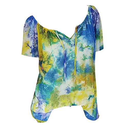 NINGNETI Camiseta De Manga Larga con Estampado Holgado con Cuello En V Vendaje Blusa Tops Camisa