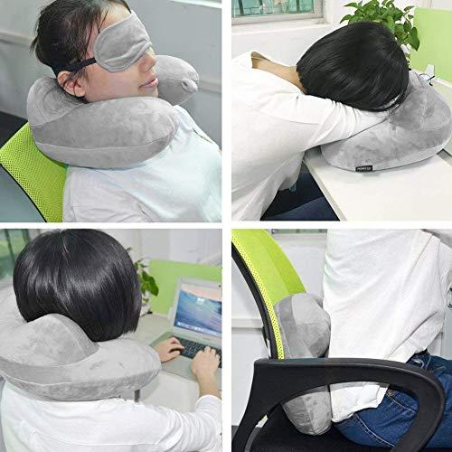 Hemore Almohada de viaje hinchable para el cuello, cojín suave con funda de terciopelo para dormir...